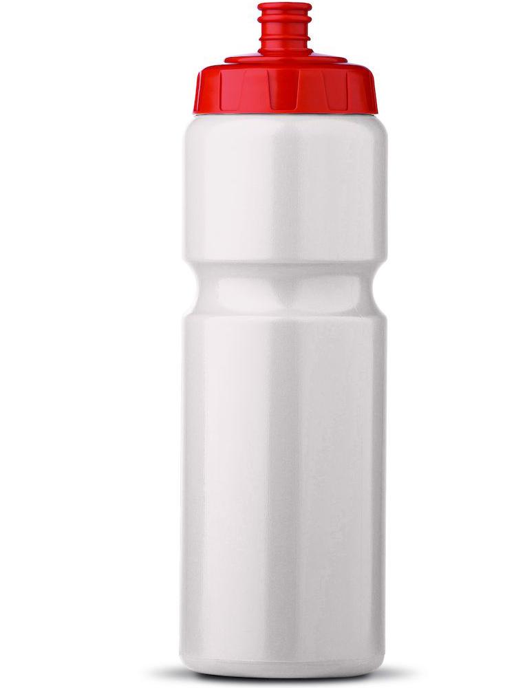 Sportsflaske Med Logo, Hvit Med Rød Topp