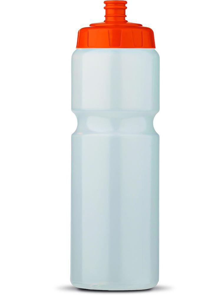 Sportsflaske med logo, Transparent med Oransje topp