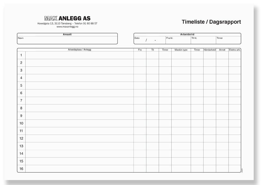 Timeliste - Dagsrapport Liggende, Kundeeksempel Max Anlegg