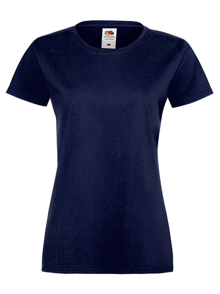 Fruit Of The Loom Lady Fit Sofspun T-skjorte, Deep navy