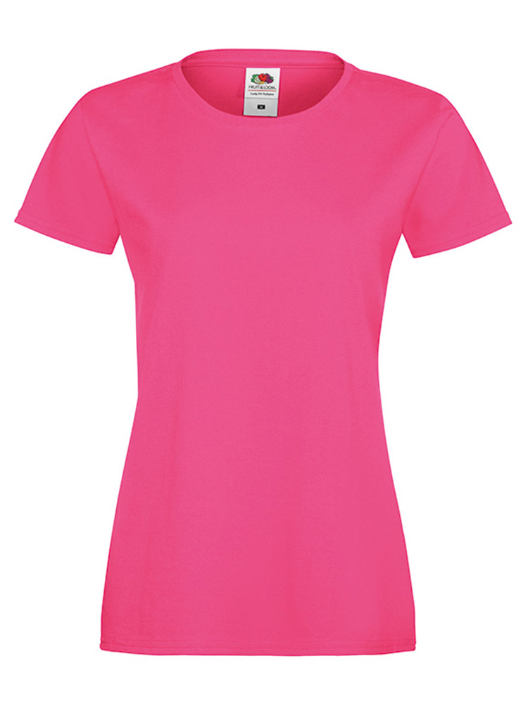 Fruit Of The Loom Lady Fit Sofspun T-skjorte, Fuschia