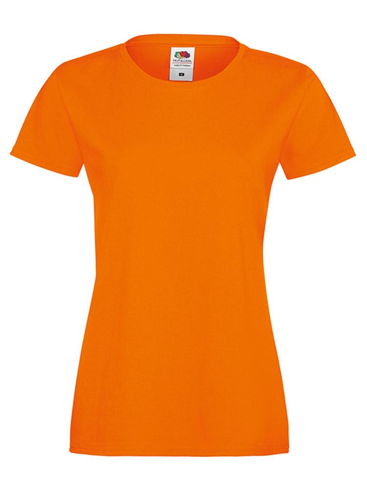 Fruit Of The Loom Lady Fit Sofspun T-skjorte, Orange
