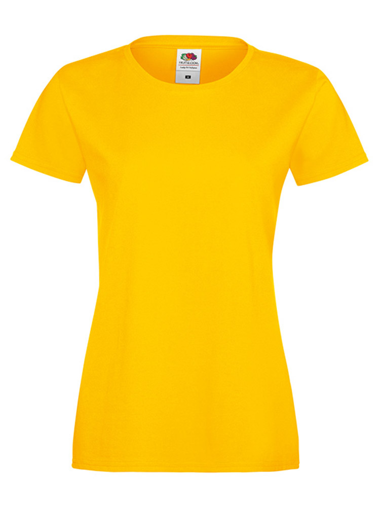 Fruit Of The Loom Lady Fit Sofspun T-skjorte, Sunflower