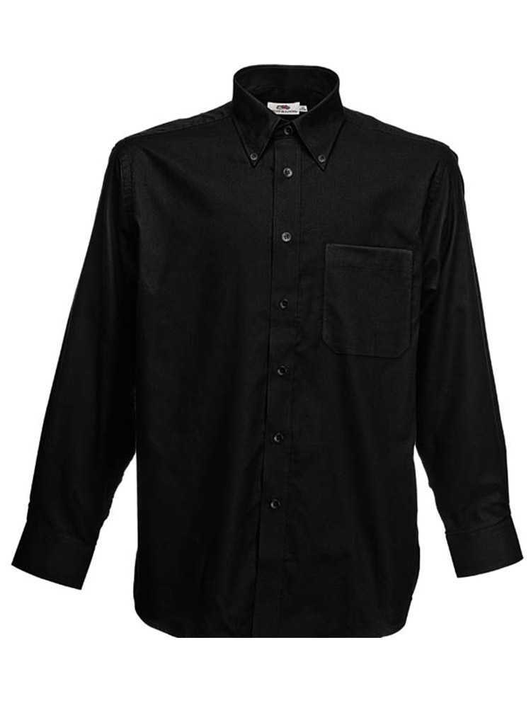 Fruit of the Loom Long Sleeve Oxford Shirt, Black