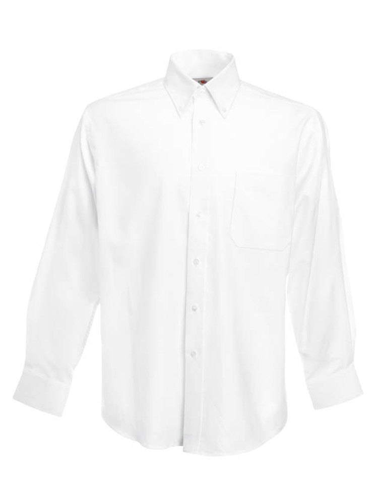 Fruit of the Loom Long Sleeve Oxford Shirt, White