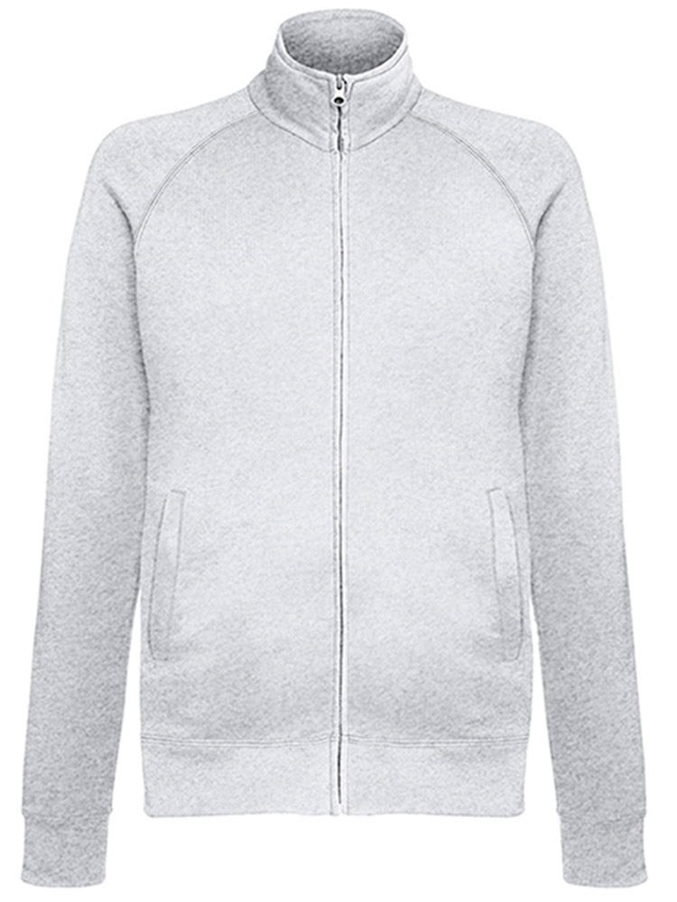 Fruit of the Loom Light Weight Sweat Jacket, Heather Grey