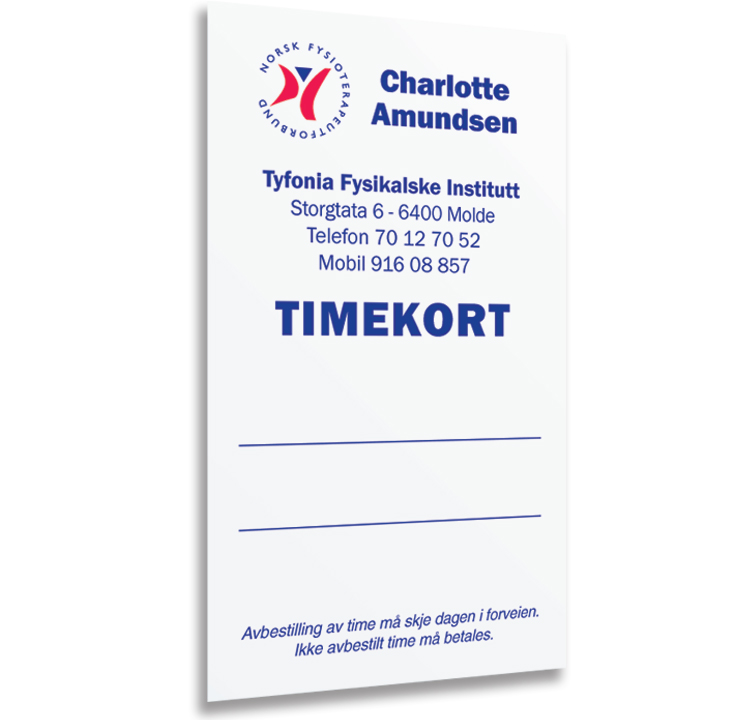 Timekort Til Fysioterapeuter, Front
