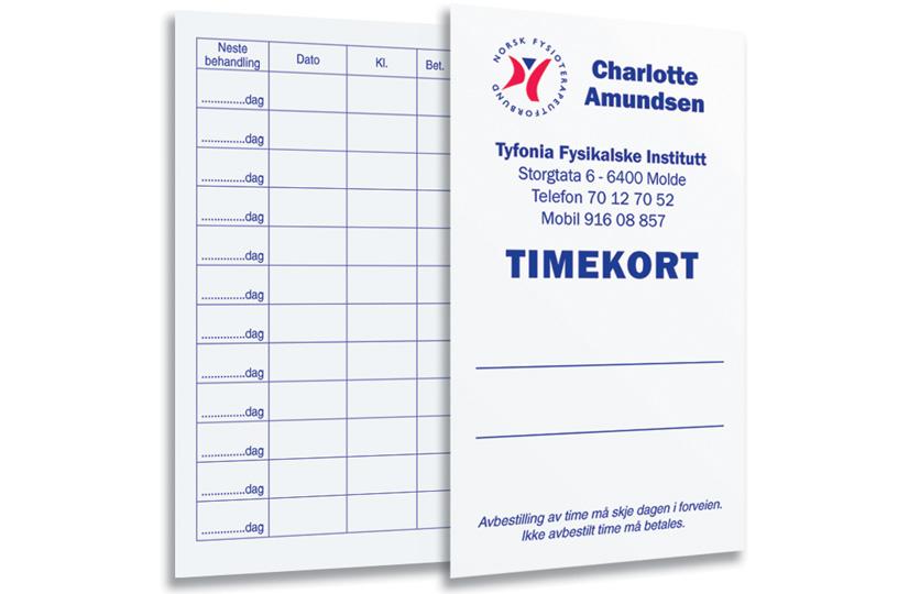 Timekort Fysio 2-sidig