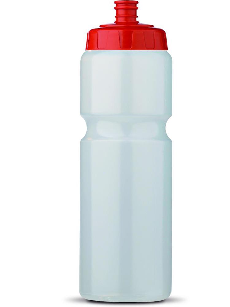 Sportsflaske med logo, Transparent med Rød topp