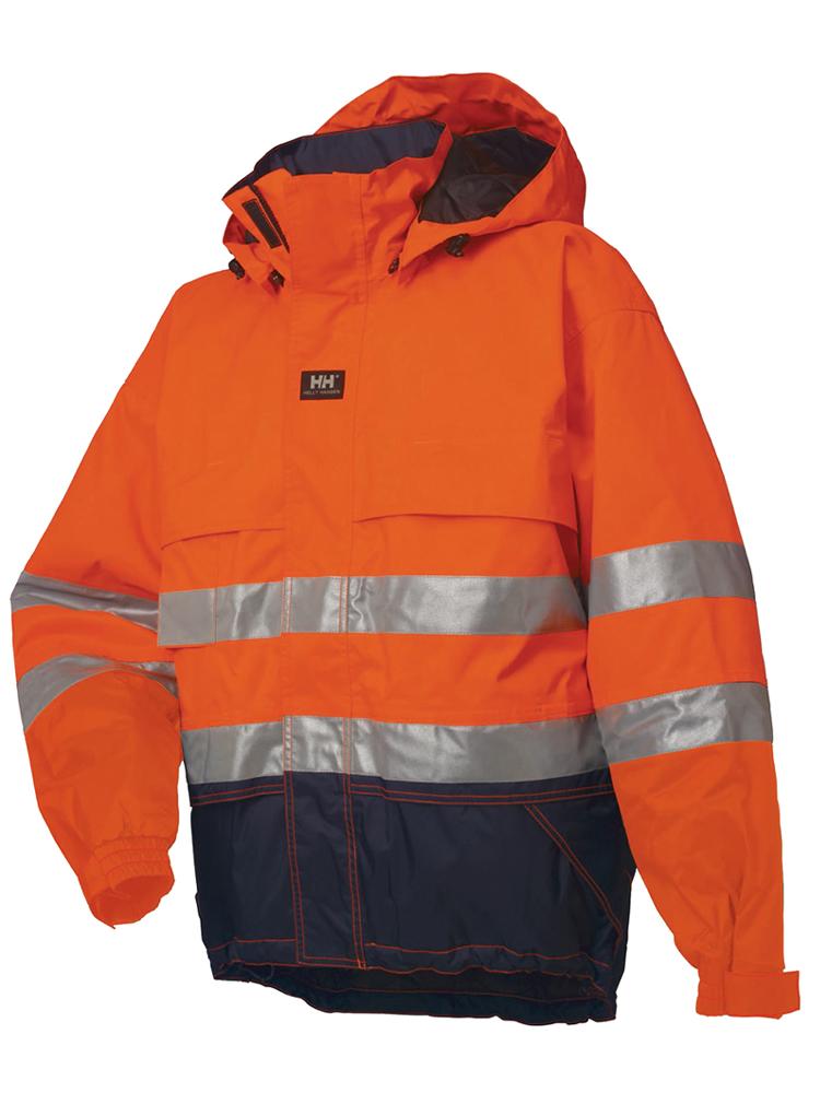 Helly Hansen Ludvika Jacket: Bestselgende HiVis-vinterjakke i vanntett og ventilerende Helly Tech®-materiale med hette som kan brukes utenpå hjelmen, eller tas av ved hjelp av glidelåsen.