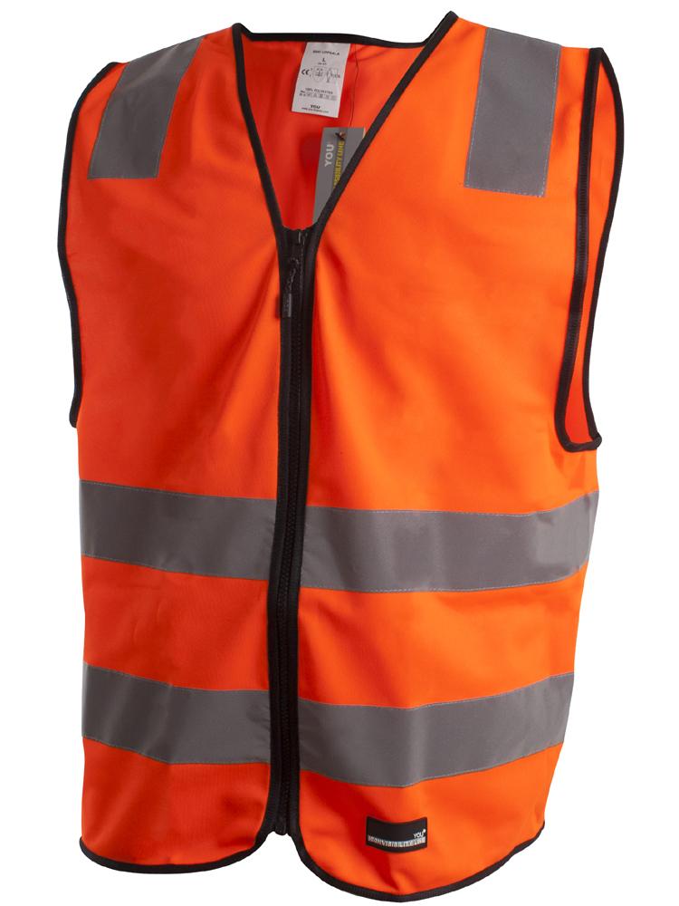 Refleksvest med glidelås Uppsala, Safety orange