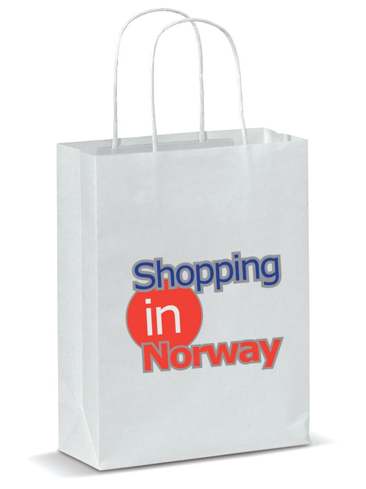 Papirposer Med Logo, Hvit