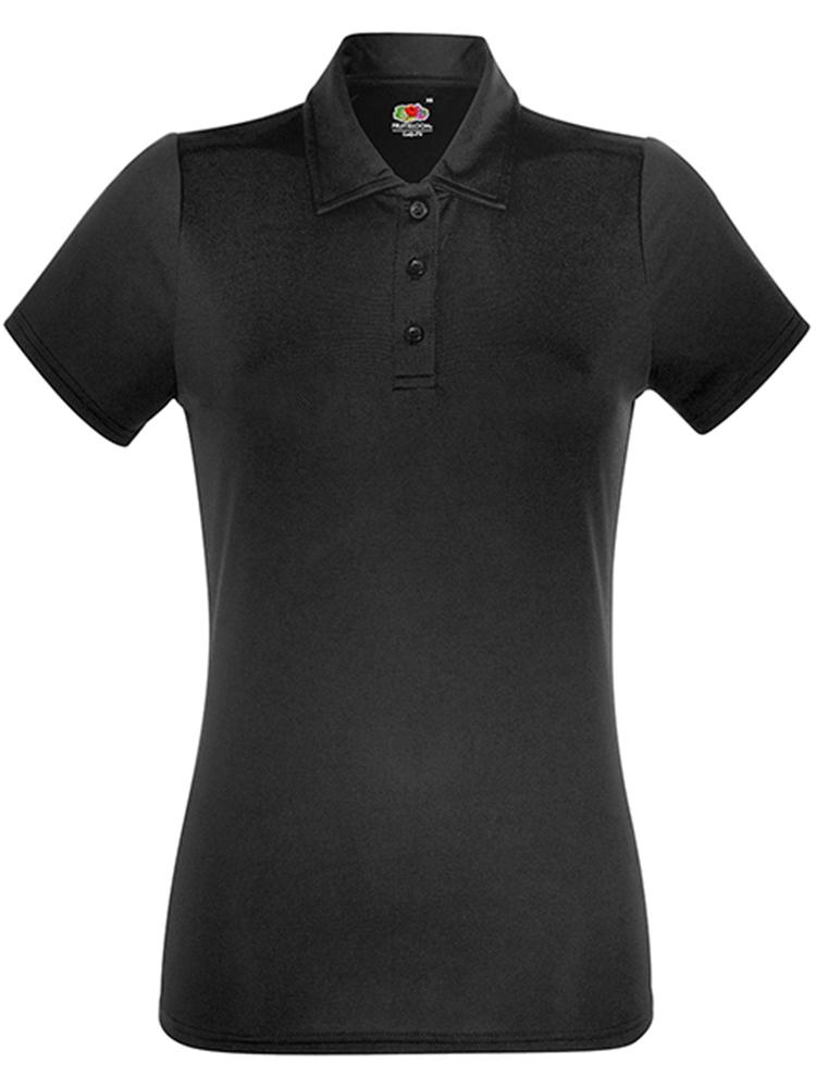 Fruit Of The Loom Lady Fit-Performance Polo, Black