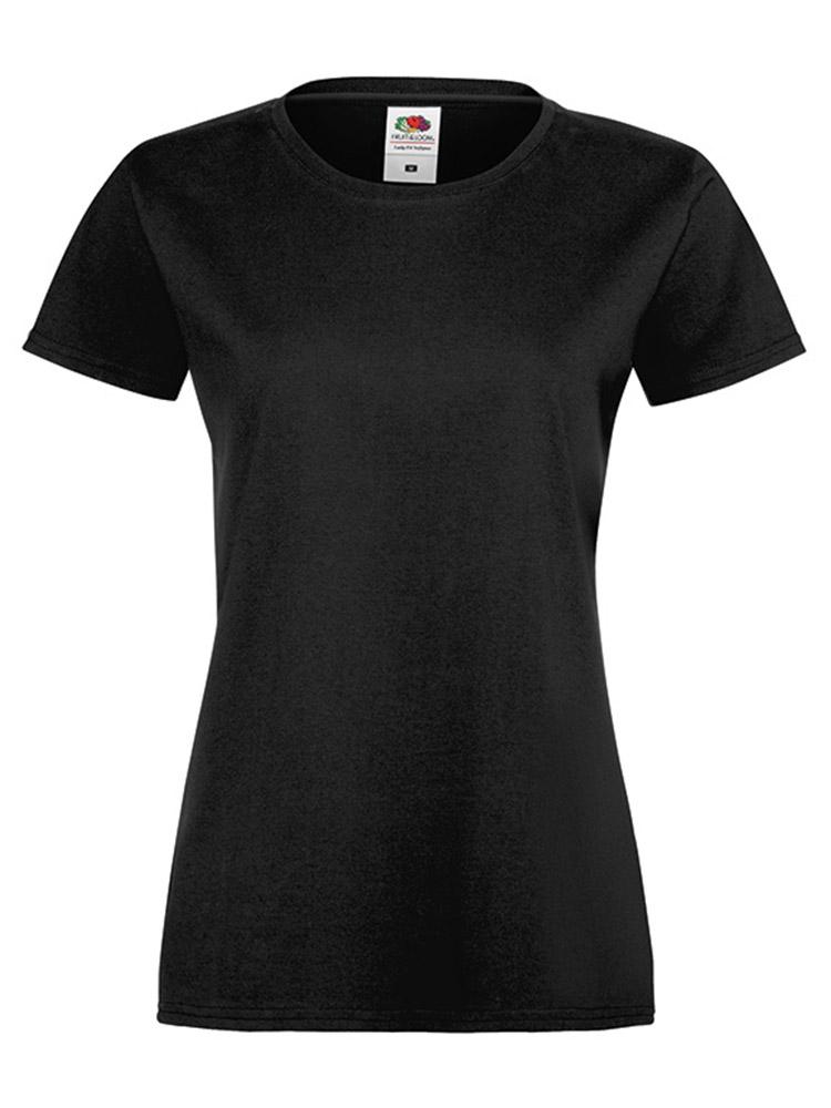 Fruit Of The Loom Lady Fit Sofspun T-skjorte, Black