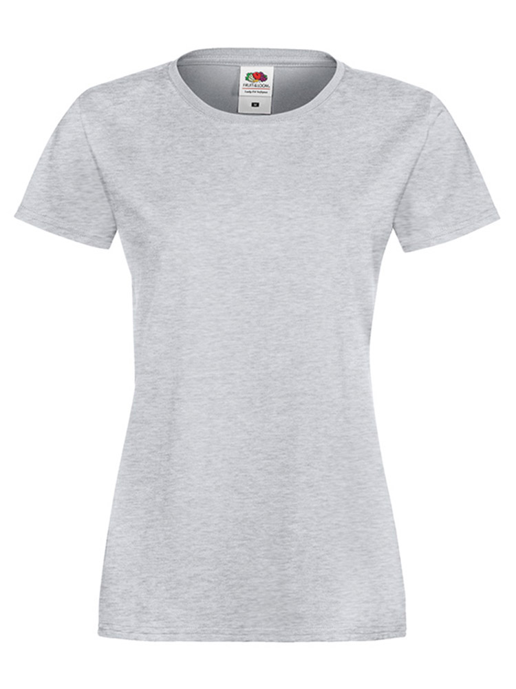 Fruit Of The Loom Lady Fit Sofspun T-skjorte, Heather grey