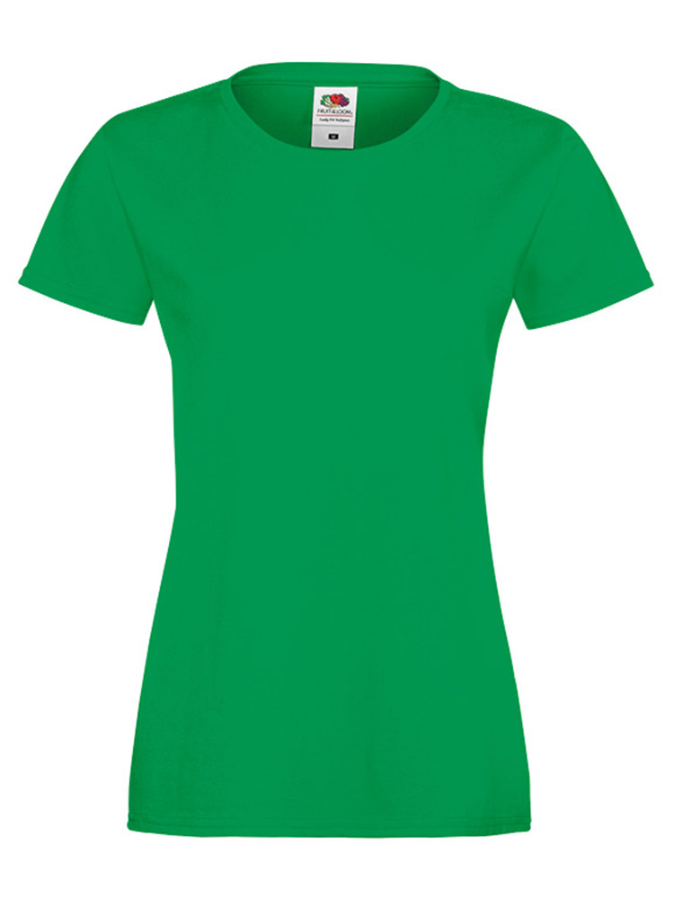 Fruit Of The Loom Lady Fit Sofspun T-skjorte, Kelly green