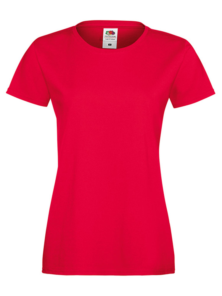 Fruit Of The Loom Lady Fit Sofspun T-skjorte, Red