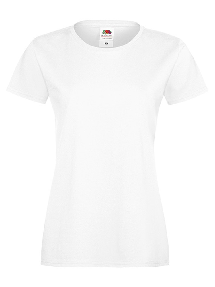 Fruit Of The Loom Lady Fit Sofspun T-skjorte, White