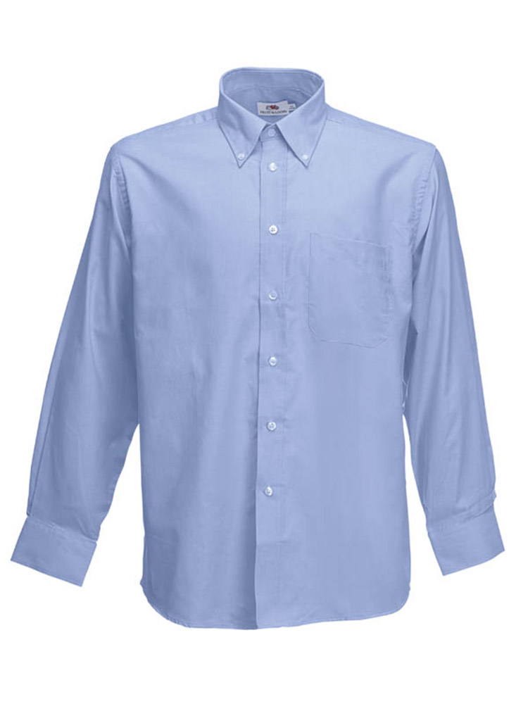Fruit of the Loom Long Sleeve Oxford Shirt, Oxford Blue