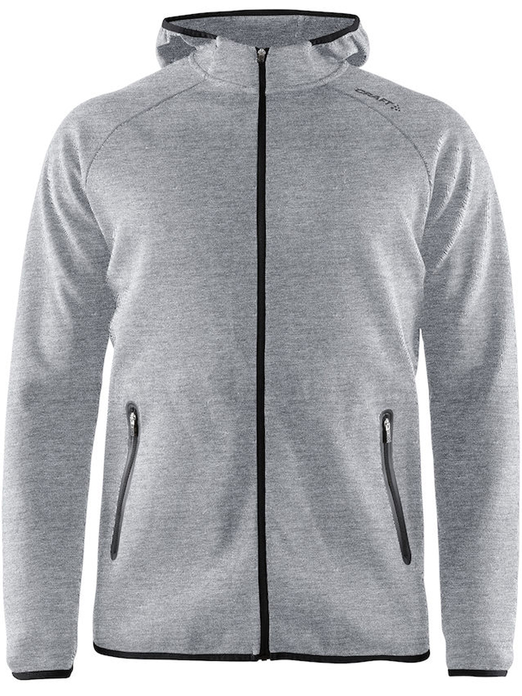 Craft Emotion Full Zip Hood M, Grey Melange