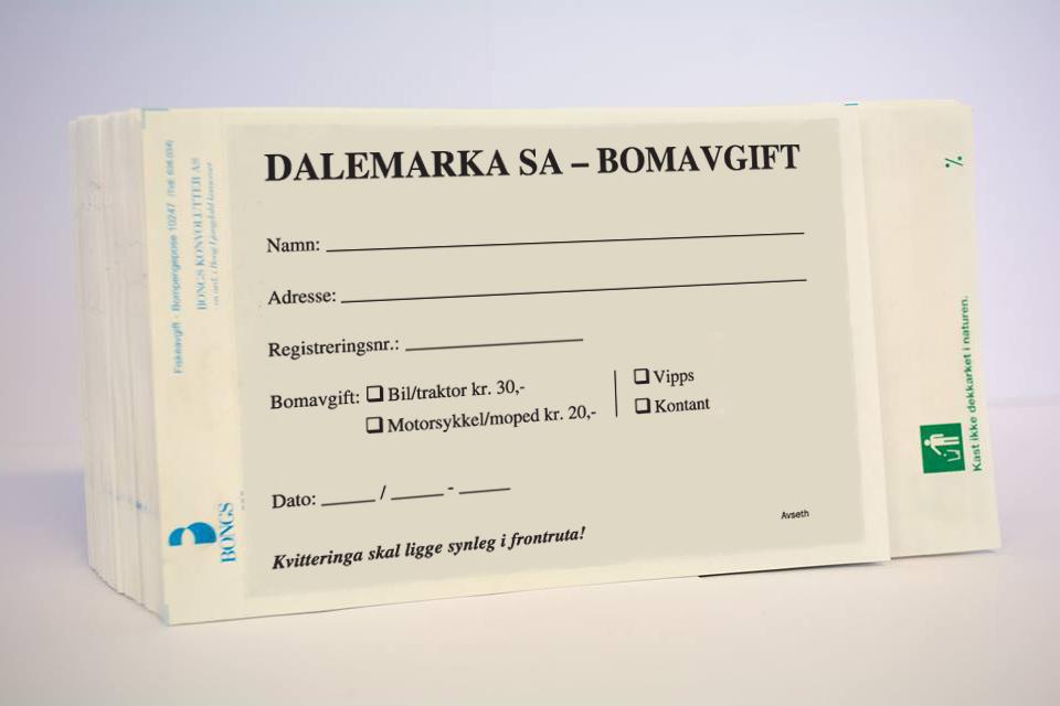 """Bompengekonvolutt, Eksempel """"Dalemarka"""""""