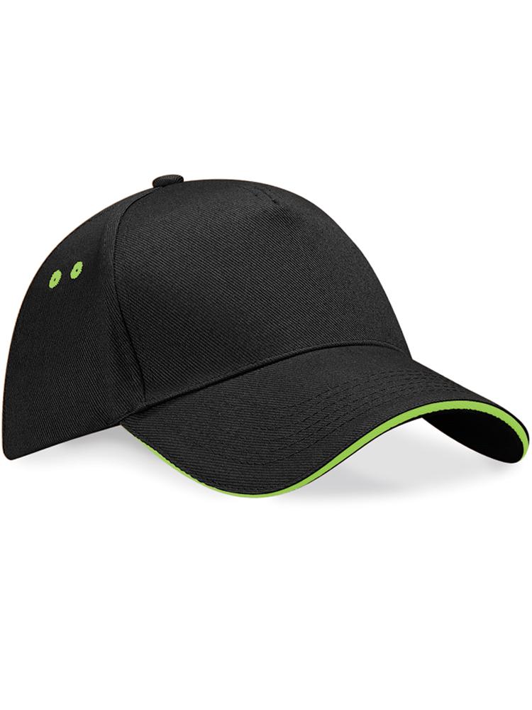 Caps Beechfield Ultimate Color_Svartgraa med lime