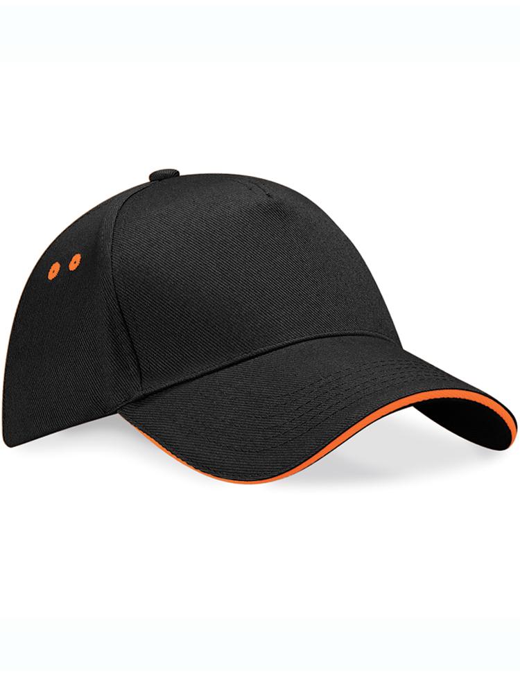 Caps Beechfield Ultimate Color_Svartgrå med oransje