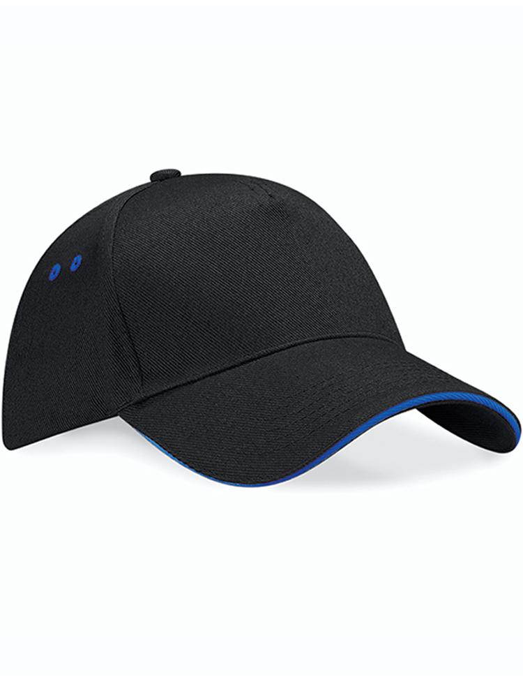 Caps Beechfield Ultimate Color_Svartgraa med bright royal blue