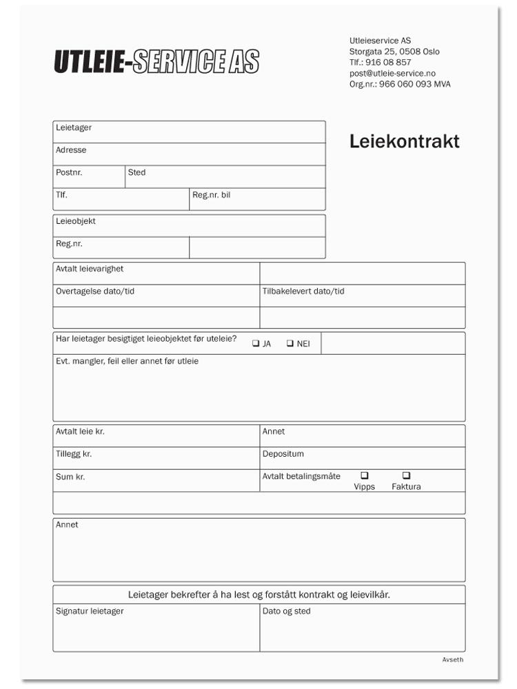 Leiekontrakt Utleieavtale Trykk Avseth